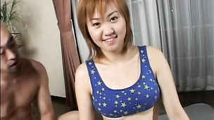 Oiled up Asian pussy stuffed with a hard salami