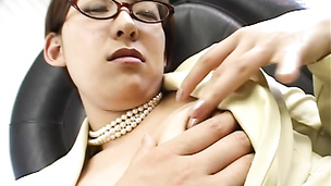 Japanese office babe gets nasty with the her bosses belly sticks