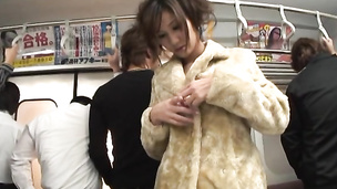 Asami Yoshikawa surrounded by dozen cocks in subway