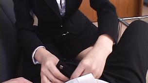 Jun Kusanagi is a lewd secretary sucking a cock dry