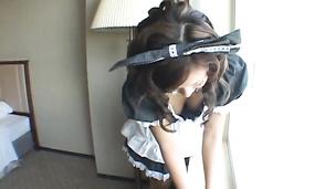 Cute Japanese housekeeper polising her hairy and wet beaver