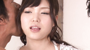 Megumi Shino gets fucked by two after an asian blowjob