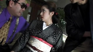 Asian hottie in kimono got her pussy played and derailed