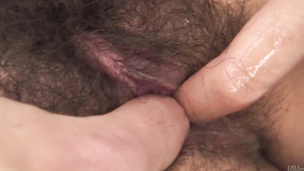 MILF Kaoru Natsuki's Hairy Pussy Fucked By Two