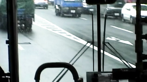 A quick and nasty group fuck inside a public bus