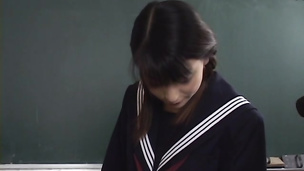 Pretty Japanese school chick vibrated fucked hard and jizzed