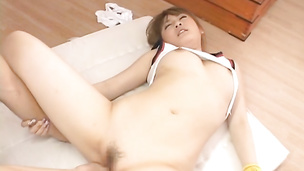 Pretty young Asian babe gets fucked hard and eats sperm