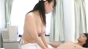 Stunning Japanese nurse plays with toys on a big dick