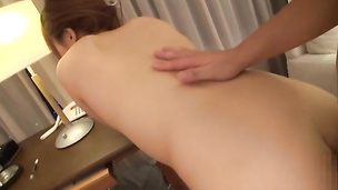 Babe moans hard as shaved pussy gets filled with hard dick