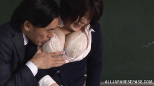Tempting babe Rin Ogawa sucks and rides stud