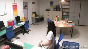 Staggering chick Azusa Ishihara gives naughty handjob and rides the penis