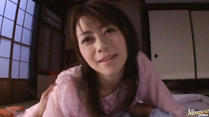 Magnificent oriental beauty Maki Hojo has a fuck stick in her quim