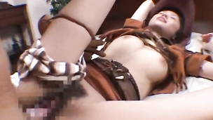 Savory babe reaches a strong and massive orgasm