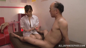 Tasty exotic lady Erika Kitagawa sucks and bends over to take a dong