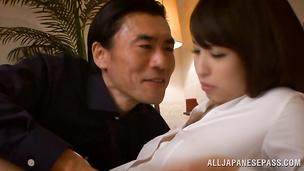 Dishy Shoko Akiyama rapidly rides a stiff prick