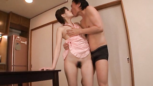 Sex appeal gf Azu Hoshitsuki seduces her talented pussy tester for some casual sex