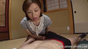 Magnificent lady Kumi Kanzaki enjoys riding a slim jim extremely wild and hard