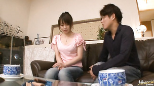 Horny oriental girlie Nozomi Hazuki is horny and enjoys riding a pulsating donga