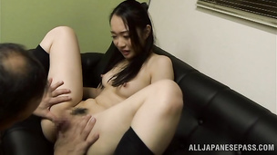 Hard prick makes marvelous japanese Nao Ogawa gag and stretches her wet cunt