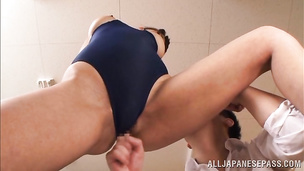 Luscious eastern Sumire Takaoka puts a hard dick in her wet mouth