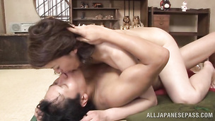 Wanton exotic gal Hisae Yabe uses her man's love rocket for sex